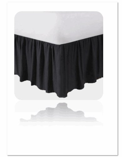MAINSTAYS 180 Thread Count Bedskirt Black Soot Bed Skirt Full Size