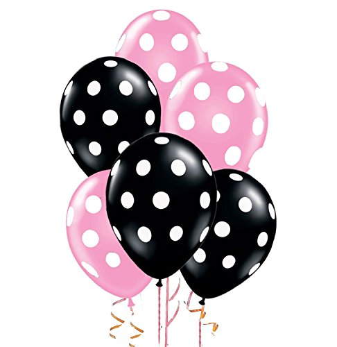 Polka Dot Balloons 11inch Premium Pale Pink and Black with All-Over Print White Dots Pkg/25 -