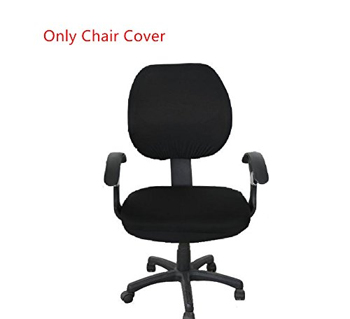 Pure Color Polyester Rotating Chair Cover Doptou Universal Computer Office Stretch Chair Slipcover Machine Washable Chair Protector Cover (Black)