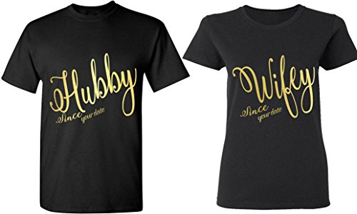 Hubby & Wifey Since [Your Date] - Matching Couple Shirts - His and Her T-Shirts - Tees by Couples Apparel