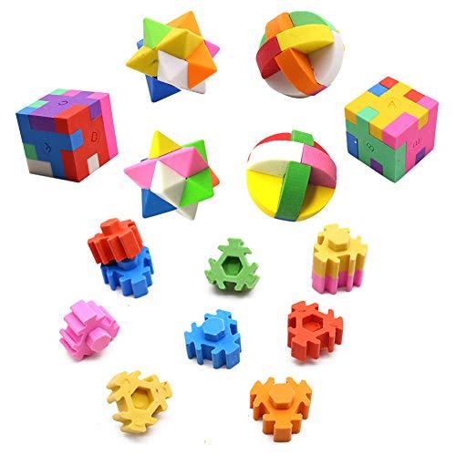 LoveInUSA Eraser Puzzles Set, 3 Styles Erasers for Kids 3d Puzzle Erasers Rubber Puzzles Eraser for Our Kids Party Favors School Classroom Prizes Rewards