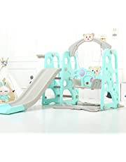 4 in 1 Toddler Climber and Swing Set Extra Long Slide Kids Play Slides Playset with Basketball Hoop Easy Set up Baby Playset for Indoor Outdoor Backyard