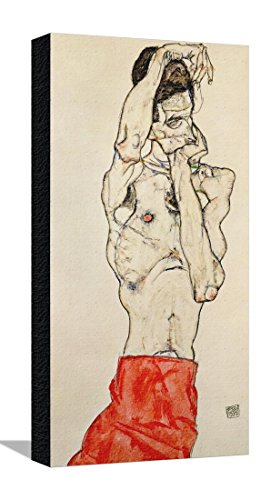 Standing Male Nude with Red Loincloth, 1914 Stretched Canvas Print by Egon Schiele - 11.5 x 21.5 in