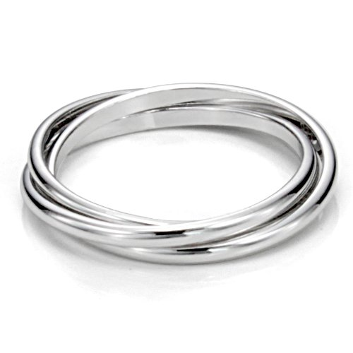 Metal Factory Sz 7.0 Sterling Silver Triple Interlocked Rolling High Polish Plain Dome Tarnish Resistant Wedding Band Ring ()