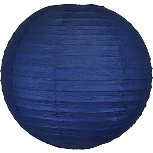Just Artifacts 12inch Decorative Round Chinese Paper Lanterns 10pcs w/ 12pc LED Lights and Clear String (Color: Navy Blue) by Just Artifacts (Image #2)