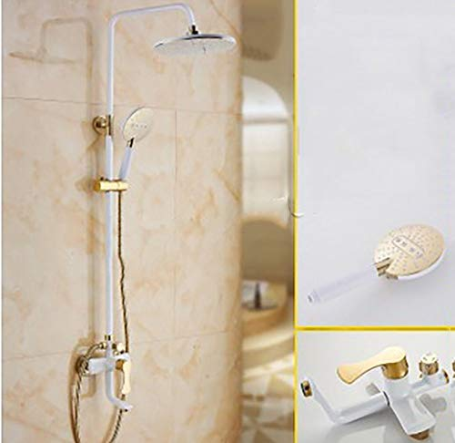 Shower Shower Sets, Copper Fittings, Creative Fashion 8 Inches Wall-Mounted Top Spray Waterfall Hand Shower Hot and Cold Water 3-Hole Installation, White 1.5m Hose (Color : White, Size : Rou