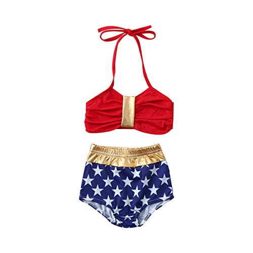 MIKI SHOP 1-6T Kids Baby Girls Stars Cute Swimming Bikini Set Swimsuit Swimwear Bathing Suit Two-Piece Red]()