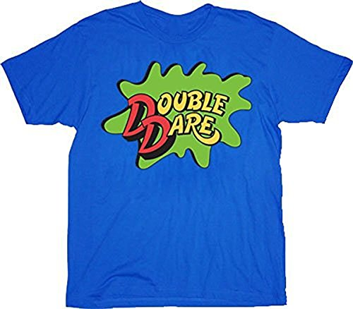 Double Halloween Costumes (Double Dare Logo Costume Blue Adult T-shirt Tee)