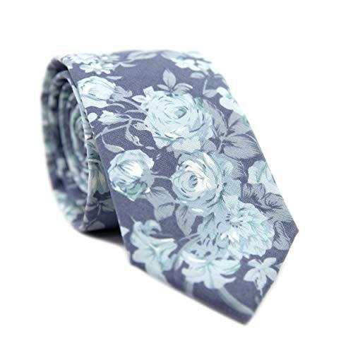 DAZI Men's Skinny Tie Floral Print Cotton Necktie, Great for Weddings, Groom, Groomsmen, Missions, Dances, Gifts. (Blue Tropic)