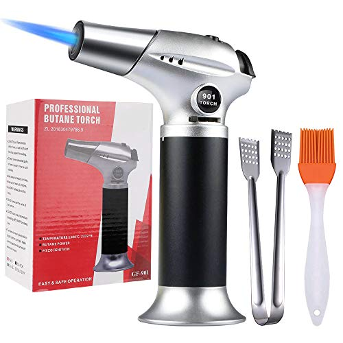 EZCO Blow Torch, Culinary Cooking Torch Lighter Kitchen Refillable Butane Chef Torch with Safety Lock & Adjustable Flame for Cooking BBQ Baking Brulee Crème DIY Soldering (Butane Gas Not Included)
