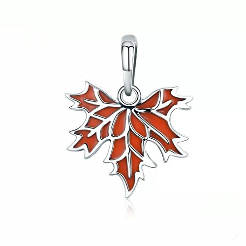 (Autumn Maple Dangle 925 Sterling Silver Maple leaves Charm Beads for Pandora Charms Bracelet & Necklace)