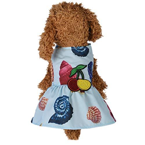 Geetobby Summer Puppy Dog Dress Thin Cute Princess Ribbon Skirt for Small Pets Light Blue ()