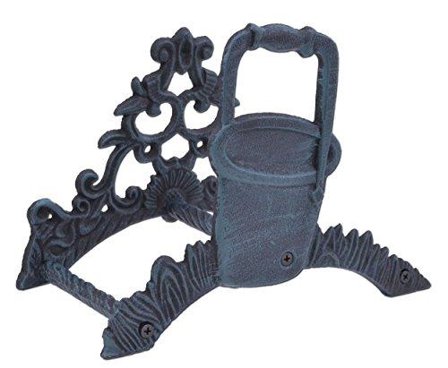 "Import Wholesales Garden Hose Holder Water Pail Bucket Design Verdigris Cast Iron Hanger Reel 10"" Wide"