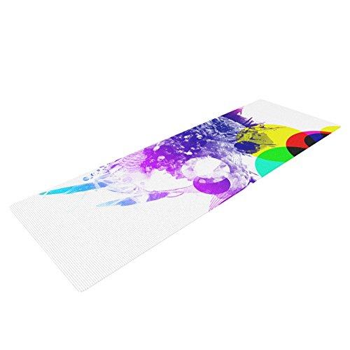 "Kess InHouse Frederic Levy-Hadida ""Owl"" Yoga Exercise Mat, Purple, 72 x 24-Inch"