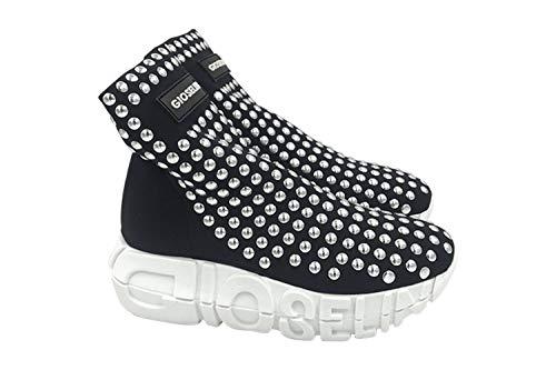 War Borchie Sneakers Donna Silver Gioselin Scarpa Nero Studs qtwTgS4