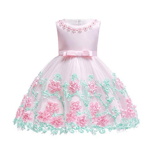 Dhiuow Baby Girls Flower Dress Wedding Party Toddler Dres Birthday Special Occasion Girls Dress Pink 12-18 Months