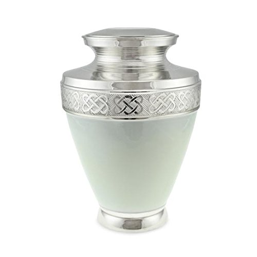 Cherished Urns Budleigh Gloss White Brass Adult Cremation Urn for Ashes