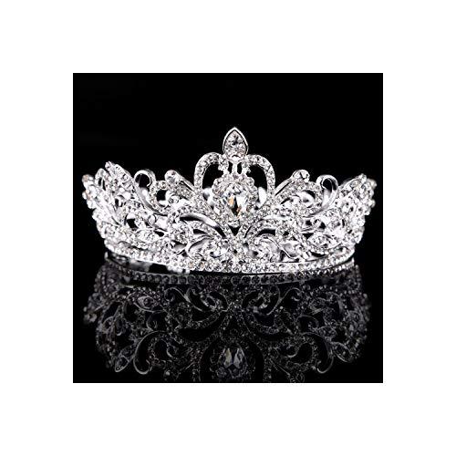 Women Full Circle Crown Vintage Crystal Rhinestone Tiara And Crowns Head Jewelry Bridal Diadem,Silver