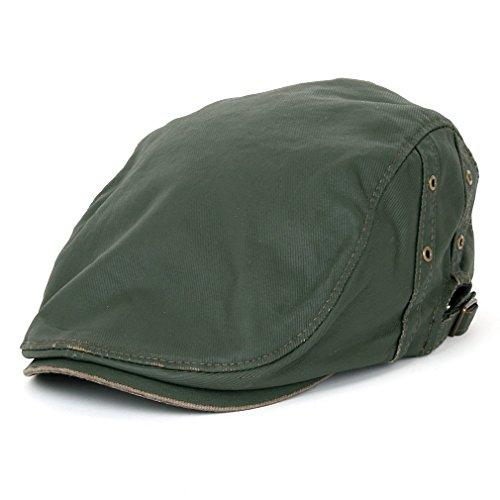 (ililily Vintage Waxed Oil Canvas Flat Cap Ivy Newsboy Hunting Irish Driving Hat (flatcap-538-5))