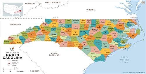 Condado de Carolina del Norte mapa – LAMINADO (36