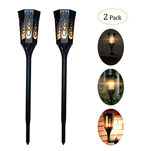 Ideapro Solar Lights, [Upgraded 2018] 3 in 1 Torch 96 LED Solar Powered Flickering Flames Landscape Decoration Lighting Multipurpose Outdoor and Indoor for Garden Patio Yard Desk Lamp (2 Pack)