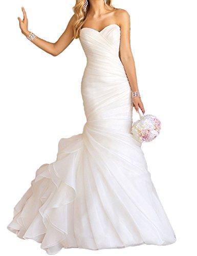 2017 Bride Long Organza White Dresses with ASBridal Train Brush Wedding for Mermaid qHwBAa