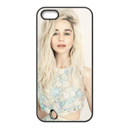 Emilia Clarke coque iPhone 5 5S cellulaire cas coque de téléphone cas téléphone cellulaire noir couvercle EOKXLLNCD23494