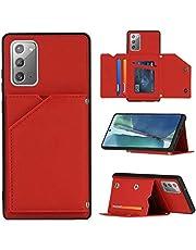 WJMWF Hoesje voor Samsung Galaxy S21 Ultra 5G [Screen Protector] PU Leder Etui Hoezen Portemonnee [Twee Magnetische Sluiting] [Kaartsleuven] [Kickstand] Shock Proof Beschermhoesje-Rood