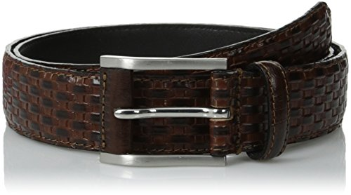 Stacy Adams Men's 32mm Full Grain Leather Top with Embossed Basket Weave (Stacy Adams Embossed Belt)