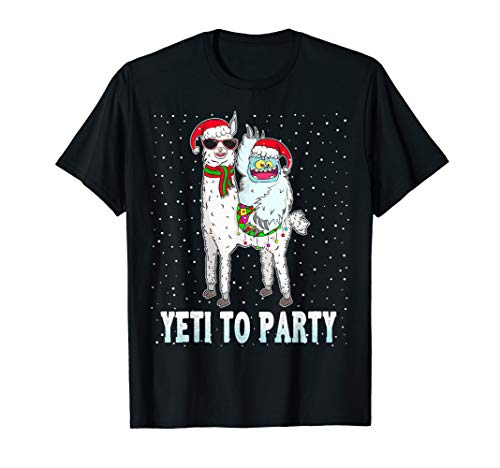 Yeti To Party With Cute Llama Christmas Pajama Xmas Gift T-Shirt