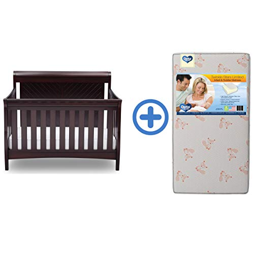 Delta Children Bennington Elite Sleigh 4-In-1 Convertible Baby Crib & Twinkle Stars Limited Waterproof Fiber Core Crib and Toddler Mattress, Dark Espresso