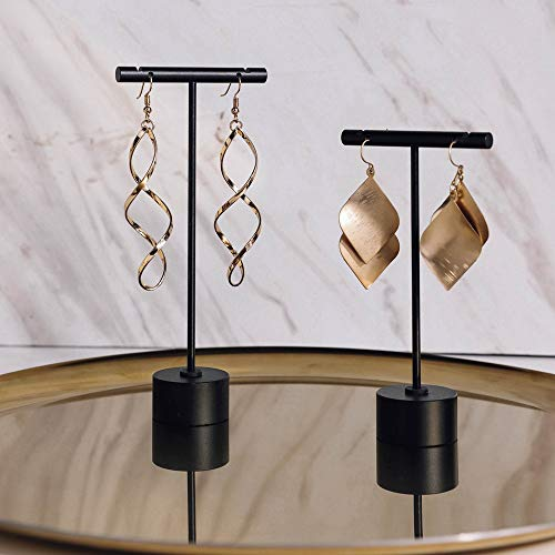 """BanST Metal 2pcs Earring T Stand Jewelry Display for Show, Retail T Bar Earring Stand Organizer, Jewelry Photography Display for Show【Black-Round Base 2pcs Height 4.5"""" and 5.3""""】"""