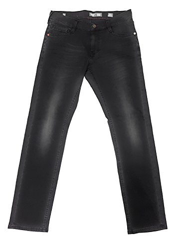 MUSTANG Herren Jeanshose Oregon 1005364 Slim Low Tapered, Jeans aus stretchigem Baumwoll Mix - Schwarz (Black 4000-312)