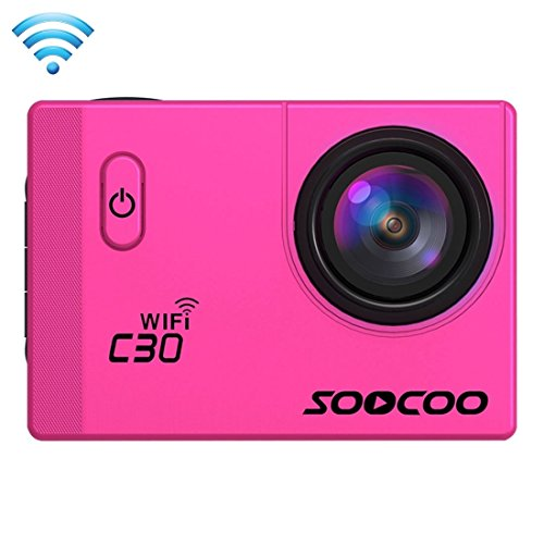 Sports Cameras, SOOCOO C30 2.0 inch Screen 4K 170 Degrees Wide Angle WiFi Sport Action Camera Camcorder with Waterproof Housing Case, Support 128GB Micro SD Card, (Color : Magenta)