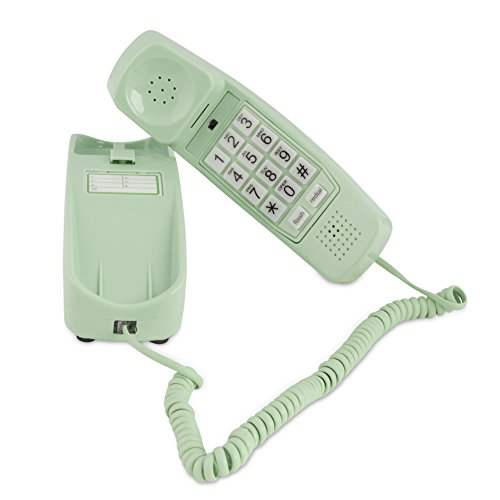 Trimline Corded Phone - Phones For Seniors - Phone for hearing impaired - Earth Day Green - Retro Novelty Telephone - An Improved Version of the Princess Phones in 1965 - Style Big Button (Corded Telephone Green)
