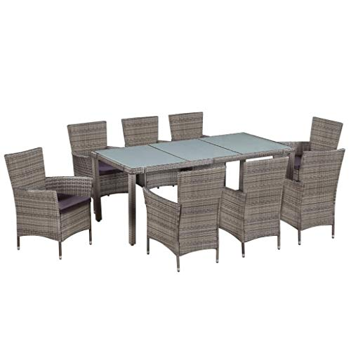 Tidyard 9 Piece Dining Set with Cushions Outdoor Wicker Patio Garden Furniture Set for Pool, Terrace Poly Rattan Gray 74.8inch x 35.4inch x 29.5inch (L x W x H) (Chairs Piece 8 Table Garden And)