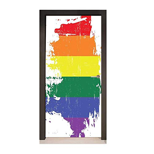 Vintage Rainbow Decor Door Mural Colorful Grunge LGBT Flag Design Worn Out Stripes of Paint Gay Culture for Home Decoration Multicolor,W17.1xH78.7