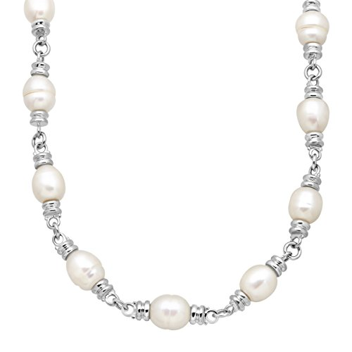Honora 10-11 mm Freshwater Ringed Cultured Pearl Link Toggle Necklace in Sterling Silver by Honora