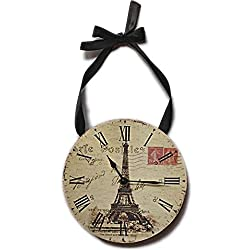 Fashioncraft Wall Clock  Eiffel Tower With Postmark Design, Round, 6 3/4 Inches in Diameter