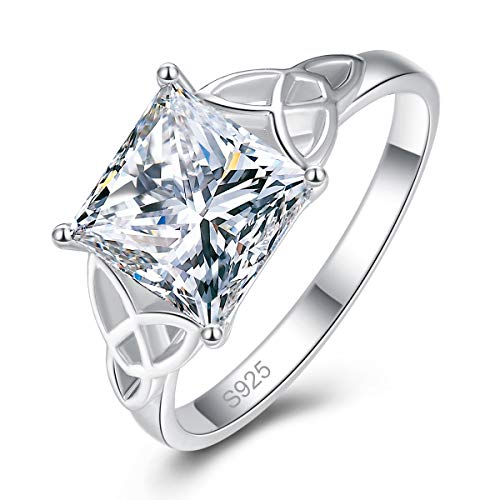 AVECON Women's 925 Sterling Silver Princess Cut Cubic Zirconia Celtic Knot Infinity Engagement Ring Size 9
