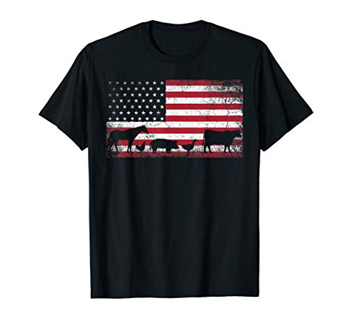 American Flag 4th of July Chicken Horse Cow Pig T Shirt ()