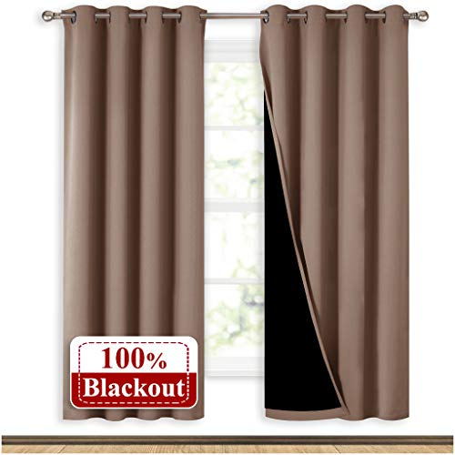 NICETOWN Living Room Completely Shaded Draperies, Privacy Protection & Noise Reducing Ring Top Drapes, Black Lined Insulated Window Treatment Curtain Panels(Taupe, 2 Pieces, W52 x L72) (Patio Nice)