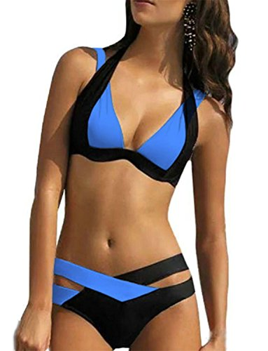Labaqiangj Bikini Fashionable Women's White Black Criss Cross Bandage Push Up Bikini Set Swimsuit Dark BlueXL(US6-8)