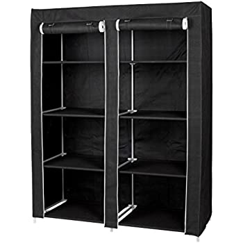 Incroyable Large Portable Wardrobe Closet Organizer By Florida Brands   8 Shelf  Storage   Black Vinyl Fabric