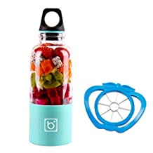 Portable Juicer Cup + Cutting Fruit Slicer, 500ml Mini USB Electric Blender for Vegetables and Fruit plastic blue, by LC Prime