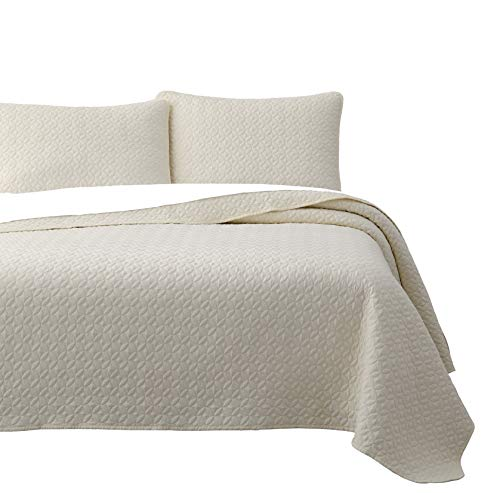 SuperBeddings Prewashed 3-Piece Quilted Quilt, Coverlet & Bed Cover Set, Stitched Pattern, Solid Color, Soft Microfiber w/ 100% Cotton Filling Bedspread (Full/Queen, Ivory)