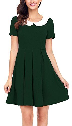 Fancyskin Women's Vintage Peter Pan Collar Short Sleeves Empire Waist Above Knee Casual Flare Dress