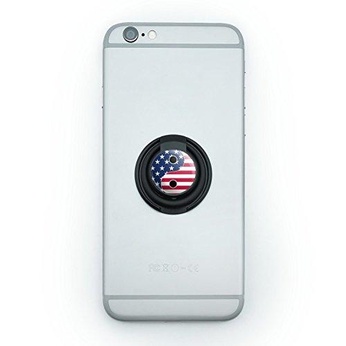 USA Patriotic Yin and Yang American Flag Mobile Smart Phone Finger Ring Grip Holder Stand (Yang Knob Yin)