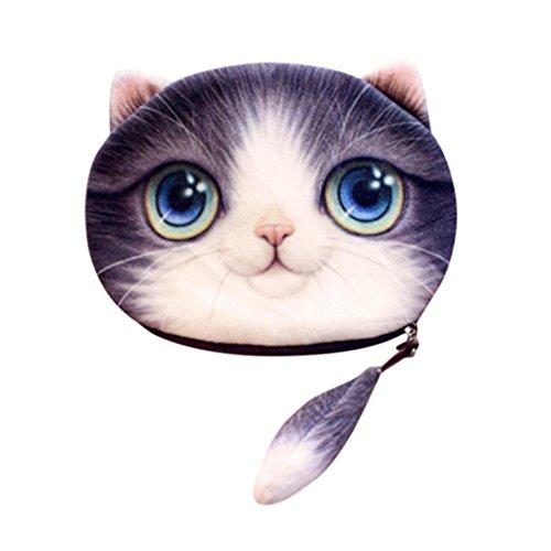by Bag Wallet 3D Bag Purse LMMVP Women Gift Girls Cute Purple Print Cat Purse Coin qRf7Zwq