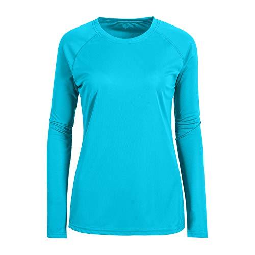 Blue Light Weight Rib Crew Neck Dry Fit Hiking Base Layer T Shirt for Women Sky Blue 3XL Cancer Womens Light T-shirt
